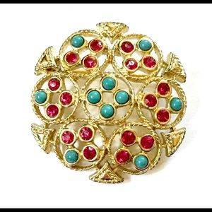 Sarah Coventry Turquoise Gold Brooch